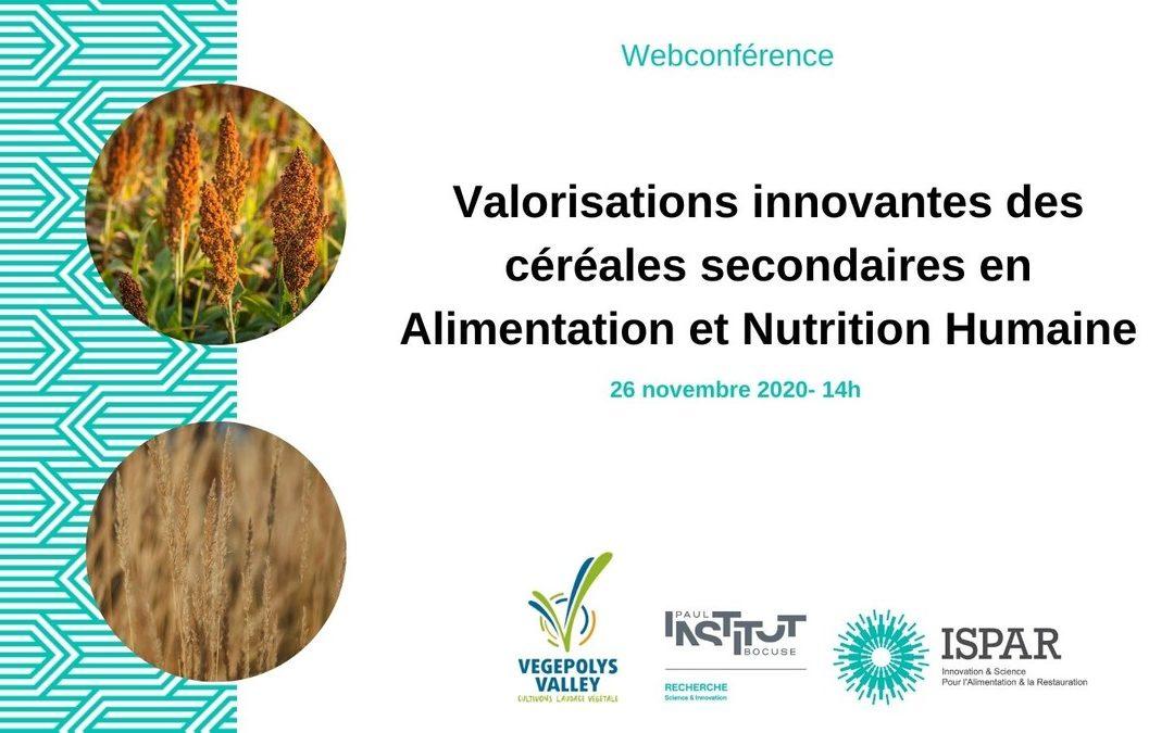 Webinaire Vegepolys Valley : Valorisations innovantes des céréales secondaires en alimentation et nutrition humaine.